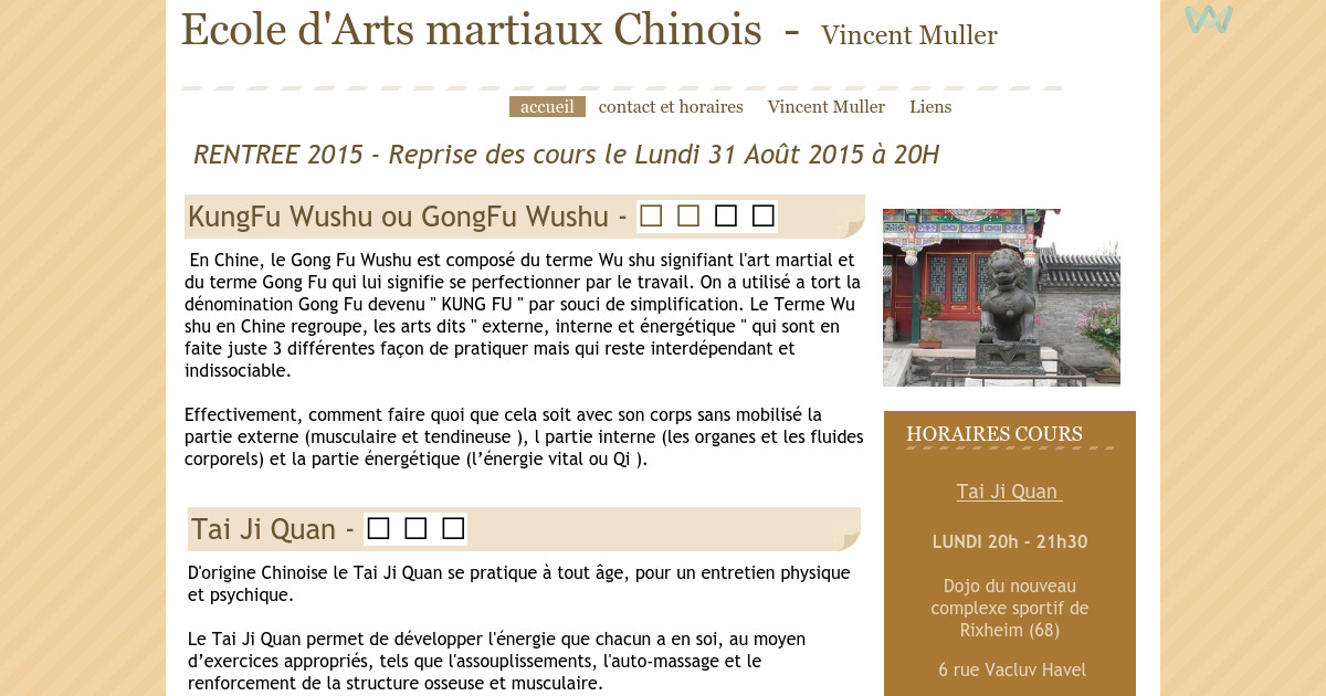 Ecole arts martiaux chinois accueil for Arts martiaux chinois